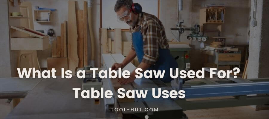 A man cutting wood in a Table Saw